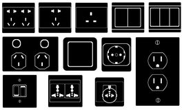 Illustration of different switches and sockets Royalty Free Stock Photo
