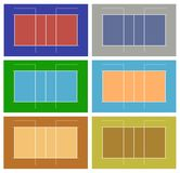 Illustration of different volleyball court Stock Images