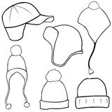Illustration of different winter hats Royalty Free Stock Photography