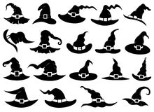 Illustration of different witch hats. Isolated on white Royalty Free Stock Photography