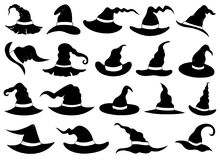Illustration of different witch hats. Set of different witch hats isolated on white Royalty Free Stock Photos