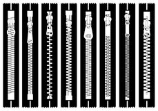 Illustration of different zippers Royalty Free Stock Images