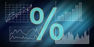 Concept of digital interest rates data. Illustration of a digital interest rates data concept royalty free illustration