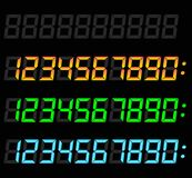 Digital numbers set. Illustration of digital numbers set on black background Royalty Free Stock Images