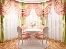illustration of dining in a romantic style in the bay area Royalty Free Stock Photo