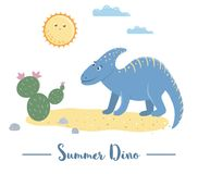 Illustration of dino in a desert under the sun with cactus. Summer scene with cute dinosaur. Funny prehistoric reptiles print for vector illustration