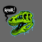 Illustration of dinosaur skull. With text bubble. Tyrannosaur Rex. T-shirt print Royalty Free Stock Image