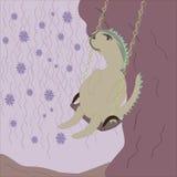 Illustration of dinosaur swinging on the tree Stock Photos