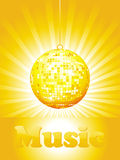 Illustration - disco-ball and glitters with wave Stock Image