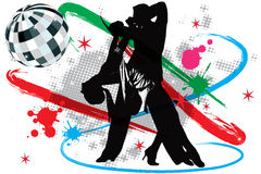 Illustration disco dancers vector illustration