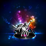 Disco Jockey. Illustration of disco jockey playing music on abstract background Stock Photography