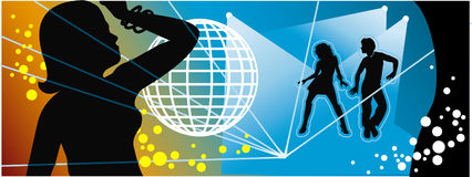 The Illustration of disco, party, dance Stock Images