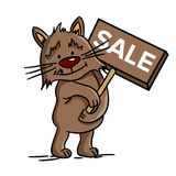 Illustration of discount (vector). Cute cat holding tag of sale, brown design, vector Stock Image