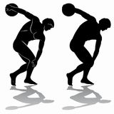 Illustration of discus thrower, vector draw. Isolated illustration of discus thrower, black and white drawing, white background Royalty Free Stock Photography