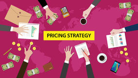 Illustration of discussion about pricing strategy in a meeting with paperworks and money on top of table Stock Image