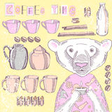 Illustration with dishes and bear Royalty Free Stock Images