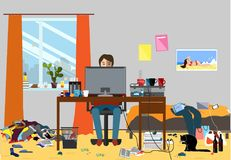 Illustration of a Disorganized Room Littered With Pieces of Trash. Room where young I.T. Guy, Bachelur or Student lives Stock Images