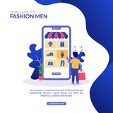 Illustration Display In Mobile Apps For Fashion Men royalty free illustration