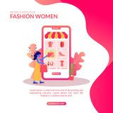 Illustration Display In Mobile Apps For Fashion Women Store stock illustration