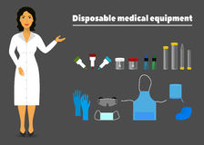 Illustration of disposable medical equipment and a nurse medical worker. Illustration of disposable medical equipment and a nurse in a white robe medical worker Stock Photos