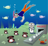 Illustration with the diver seen under water indus Stock Images