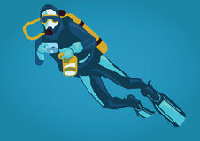 Illustration of a diver. Simple art for web and print design appealing for tourism theme Royalty Free Stock Photography