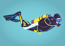 Illustration of a diver. Simple art for web and print design appealing for tourism theme Stock Images