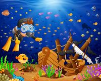 Illustration of diver under the sea. Illustration of under the sea Stock Image