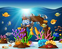 Illustration of diver under the sea. Illustration of diver and fish under the sea Stock Photos