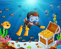 Illustration of diver under the sea. With fish Stock Photography