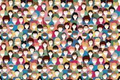 Illustration of diverse crowd of people wearing medical masks for prevention of virus transmission. New corona virus COVID-19 conc
