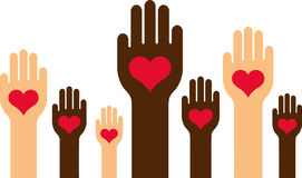 Diverse hands with hearts Stock Photography