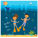 Illustration with diving girl and boy Stock Photos