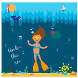 Illustration with diving girl Royalty Free Stock Images