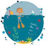 Illustration with diving girl Royalty Free Stock Photo