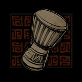 African Djembe Drum. Illustration of a djembe drum and African tapa pattern Royalty Free Stock Image