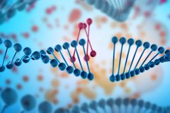 Illustration of DNA molecule. The helical molecule in the environment of the organism. Genetically modified. Illustration of DNA molecule. The helical molecule royalty free illustration