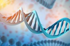 Illustration of DNA molecule. The helical molecule in the environment of the organism. Genetically modified. Illustration of DNA molecule. The helical molecule vector illustration