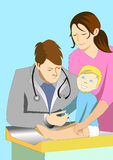 Illustration of doctor giving injection to a baby. Medical illustration vector of doctor giving injection or vaccination or immunization to a baby child with his Royalty Free Stock Image