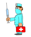 Doctor with red bag and injection Stock Photo