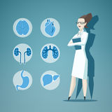 Illustration of Doctor and icons of internals Stock Photography