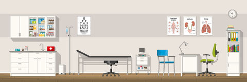 Illustration of a doctor office. Panorama Royalty Free Stock Images