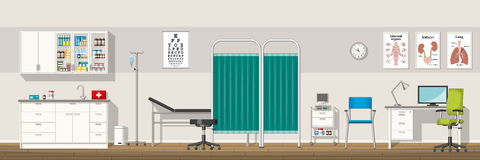 Illustration of a doctor office. Panorama royalty free illustration
