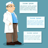 Illustration of a doctor standing in front of the information tables. Patient information. Vector Stock Photos
