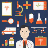 Illustration of a doctor with various Medical elements. Royalty Free Stock Images