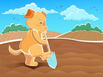 Illustration Dog - dig up seedbeds - bilding a path. Vector illustration Dog - dig up seedbeds - bilding a path Royalty Free Stock Photography