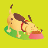 Illustration Of A Dog Eating. Green background Stock Photo