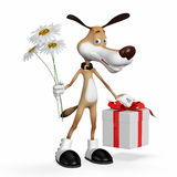 Illustration a dog with flowers and a gift. Stock Images