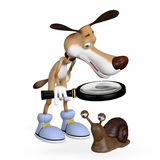 Illustration. The dog with a magnifying glass examines a snail. Royalty Free Stock Photo