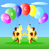 Illustration of the dogs with balloons Royalty Free Stock Photography